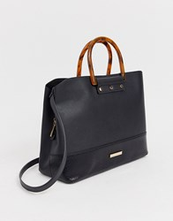 Dune Black Snake Tote Bag With Structured Handle Detail