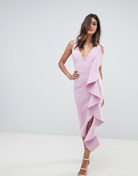 Lavish Alice Asymmetric Draped Frill Midi Dress In Scuba Purple