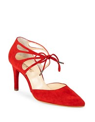 Paul Green Justeen Suede Cutout Lace Up Pumps Red