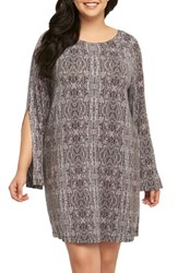 Tart Plus Size Women's Avia Print Split Sleeve Shift Dress Kashmir Labyrinth