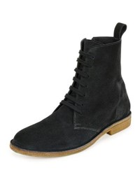 Bottega Veneta Suede Lace Up Boot Gray Grey