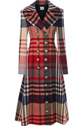 Khaite Woman Christina Double Breasted Checked Wool And Cashmere Blend Coat Brick