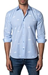 Jared Lang Trim Fit Print Sport Shirt Light Blue White