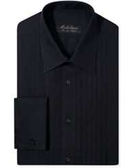 Michelsons Of London Slim Fit Pleated Point French Cuff Tuxedo Shirt Black