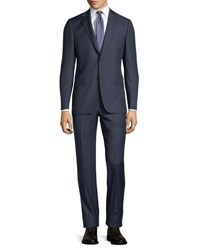Hickey Freeman Two Piece Wool Suit Navy Grey