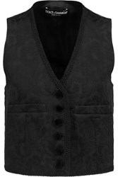 Dolce And Gabbana Cotton Blend Jacquard And Satin Vest Black