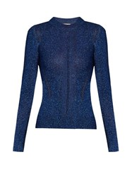 Christopher Kane Long Sleeved Metallic Sweater Blue