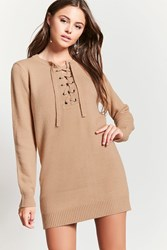 Forever 21 Lace Up Sweater Dress Taupe