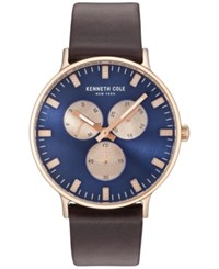 Kenneth Cole Men's Brown Leather Strap Watch 46Mm Kc14946002 Rose Gold