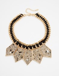 Aldo Pipes Statement Necklace Gold