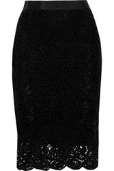 Miguelina Scarlet Cotton Guipure Lace Skirt Black