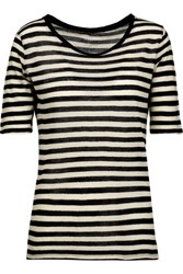 Majestic Striped Cotton And Cashmere Blend Gauze T Shirt Black