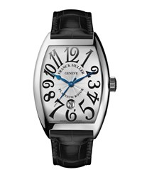 Men's Automatic Curvex Watch With Alligator Strap Franck Muller Silver