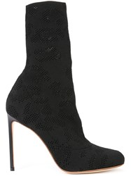 Francesco Russo Perforated Detail Mid Calf Boots Black