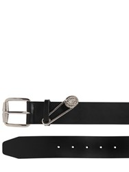 Versus Safety Pin Smooth Leather Belt