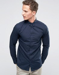 Selected Homme Long Sleeve Smart Shirt With Button Down Collar With Allover Print Navy
