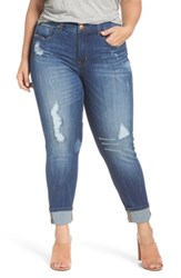 Melissa Mccarthy Seven7 Plus Size Women's Distressed Roll Cuff Straight Leg Jeans Tammy