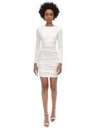 Alex Perry Blaze Draped Satin Envers Mini Dress White