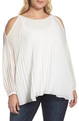 Glamorous Plus Size Women's Pleat Cold Shoulder Blouse White