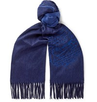 Berluti Embroidered Cashmere Scarf Blue