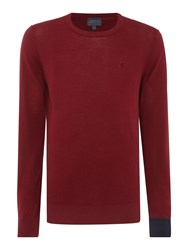 Perry Ellis College Crew Neck Contrast Cuff Jumper Dark Red
