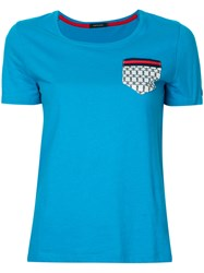 Loveless Printed Patch Pocket T Shirt Women Cotton 34 Blue