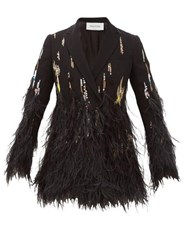 Valentino Double Breasted Feather Trimmed Crepe Jacket Black Multi