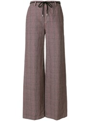 Department 5 Wide Leg Check Trousers Pink And Purple