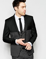 Vito Check Panelled Suit Blazer In Skinny Fit Black