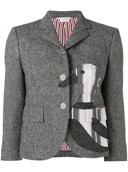 Thom Browne Frayed Duck Classic Sport Coat Grey