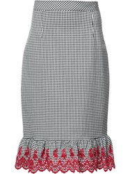 Altuzarra Gingham Embroidered Pencil Skirt Black