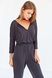 Silence And Noise Cupro Knit Jumpsuit Washed Black