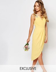 Tfnc Wedding Wrap Embellished Midi Dress Pastel Yellow