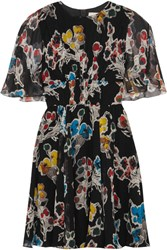 Jason Wu Floral Print Silk Crepon Mini Dress Black