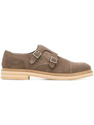 Eleventy Buckle Loafers Brown