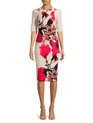 Gabby Skye Elbow Length Floral Dress Red Bisque