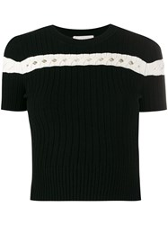Alexander Mcqueen Striped Ribbed Knit Top Black