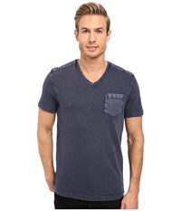 Kenneth Cole Acid Washed V Neck Blue Cave Men's Short Sleeve Knit Gray