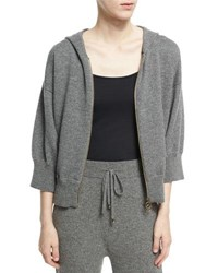 Agnona Cashmere Wool Cropped Zip Front Hoodie Charcoal