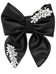Anouki Embellished Faux Leather Hair Bow Black