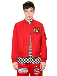 Love Moschino Patch On Cotton Canvas Bomber Jacket Red