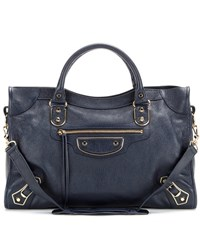 Balenciaga Classic Metallic Edge City Leather Tote Blue