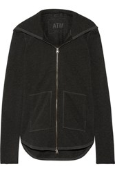 Atm Anthony Thomas Melillo French Cotton Blend Terry Hooded Top Anthracite
