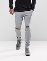 Asos Super Skinny Joggers With Knee Rips In Grey Elephant Grey