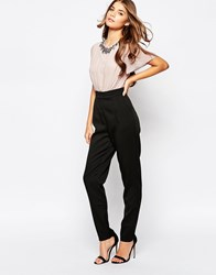 Little Mistress Jumpsuit With Contrast Top And Embelishment Black