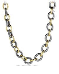 David Yurman Xl Sterling Silver And 18K Gold Link Necklace 17 Gold Silver