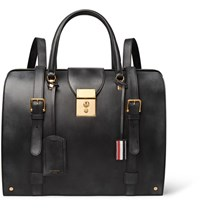 Thom Browne Convertible Burnished Leather Backpack Black