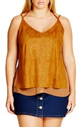 City Chic Plus Size Women's Faux Suede Layered Camisole