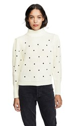 English Factory Ruffle Smocked Dot Embroidered Sweater White
