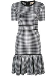 Michael Kors Collection Gingham Fitted Mini Dress Black